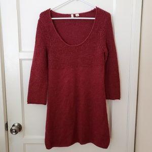 Anthropologie MOTH Alpaca Maroon Knit Dress Size M